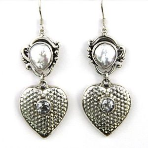 Echo heart w pearl earrings 190