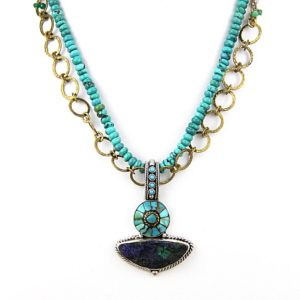 Echo azurite malachite druzy turq neck