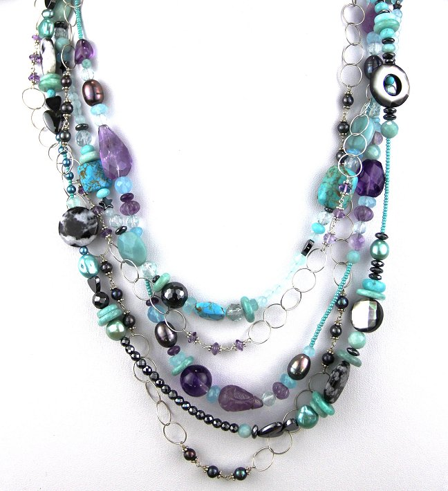 Echo of the Dreamer 5 Strand Turquoise and Amethyst Necklace - Carol Henderson Gallery