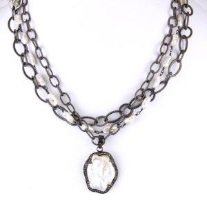 safia short 3 strand pearl and diamond 900