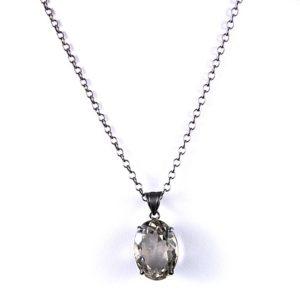 safia oval smokey quartz on chain 350