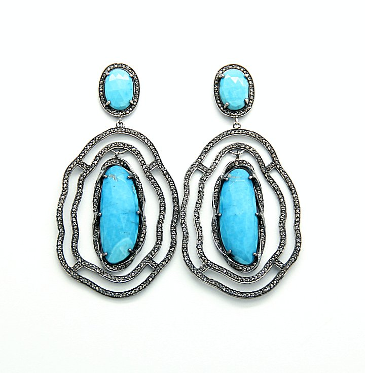 Safia Day Turquoise And Diamond Earrings Carol Henderson Gallery